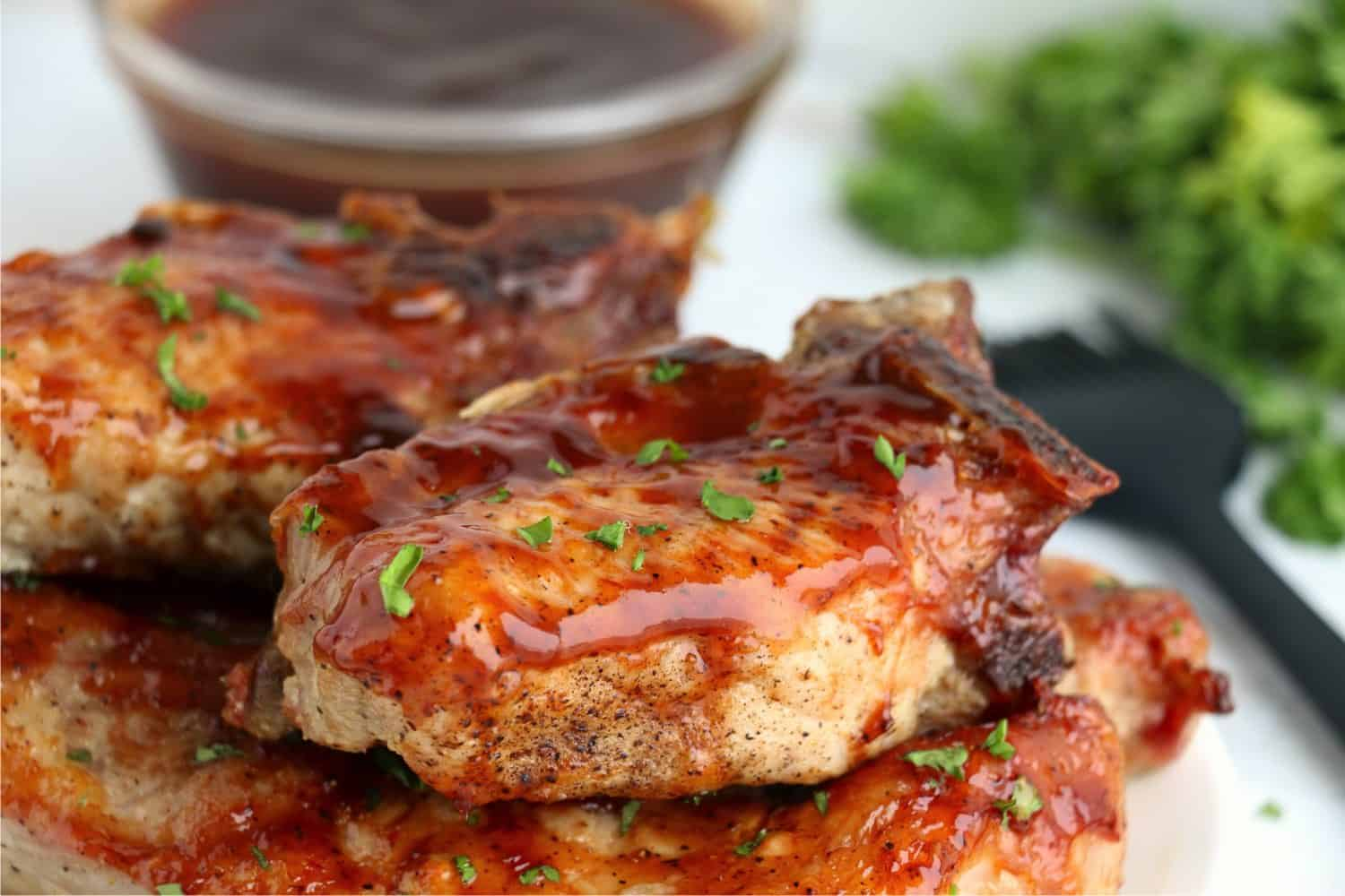 Air fryer barbecue ribs cooked to perfection and piled up ready to be served