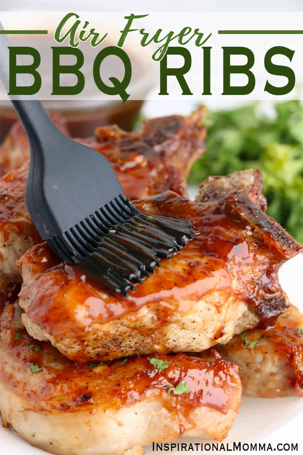 Air Fryer BBQ Ribs are tender, juicy, and so flavorful.  Made in under 20 minutes, they are a delicious weeknight meal! #inspirationalmomma #airfryerbbqribs #airfryerribs #airfryerribsrecipe #bbqribs #airfryerdinners #airfryerrecipes #bbqribsrecipe