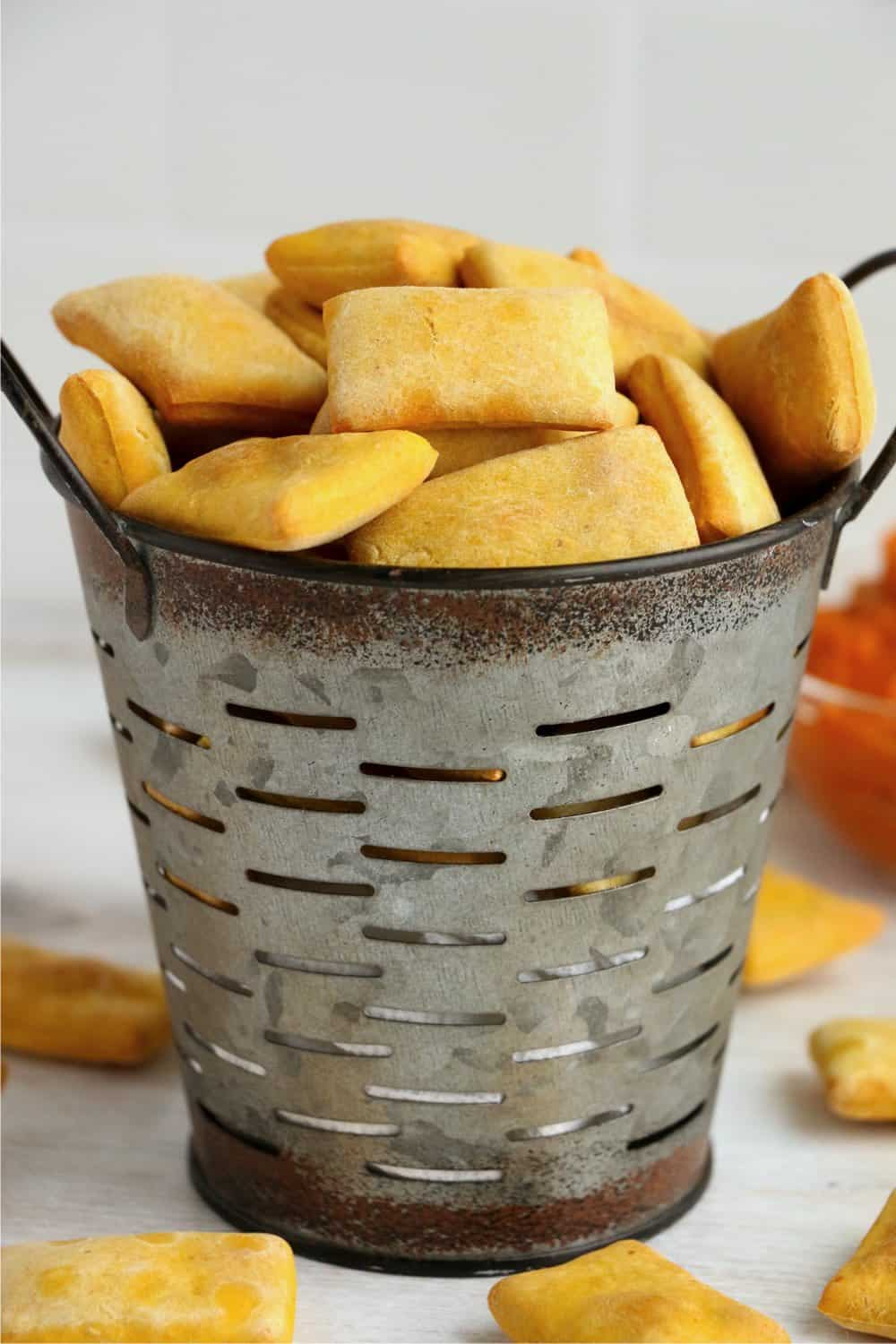 A bucket filled with air fryer dog treats