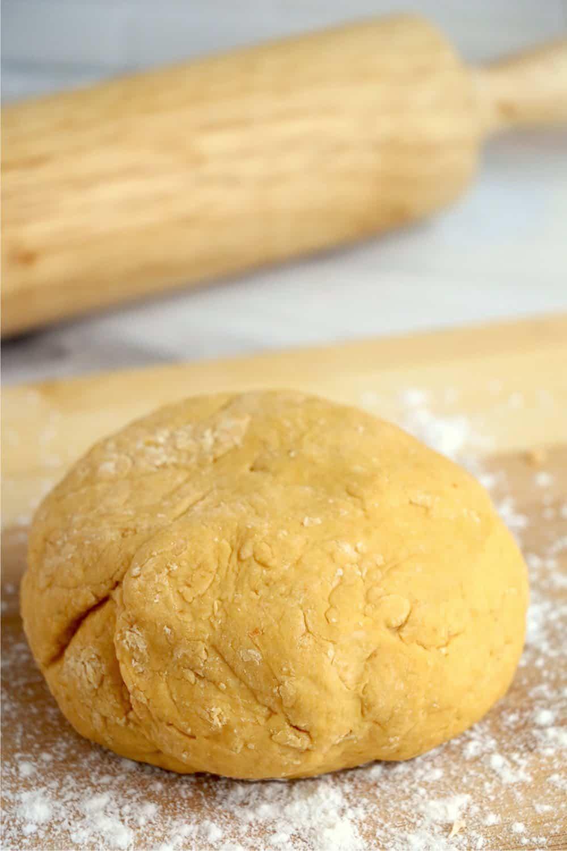 A close-up shot of pumpkin dough