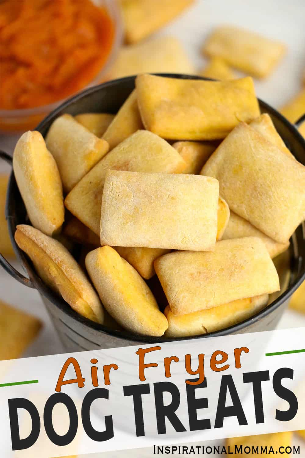 Air Fryer Dog Treats are a healthy way to spoil your furry friend. Made with pumpkin and peanut butter, they are flavorful and delish! #inspirationalmomma #airfryerdogtreats #homemadedogtreats #pumpkindogtreats #peanutbutterdogtreats #dogtreats