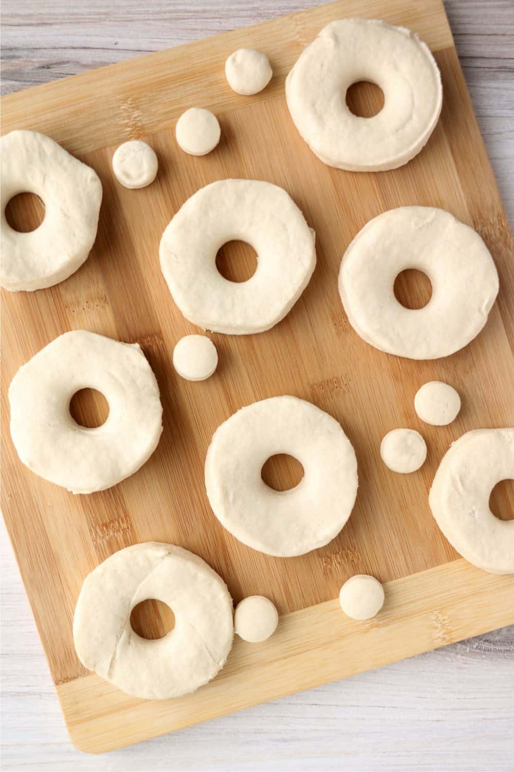 Biscuit dough cut to look like donuts