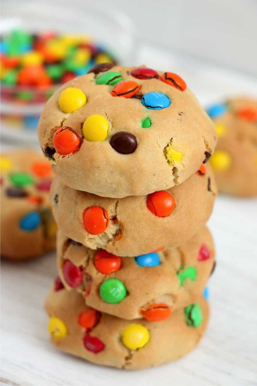 stack of air fryer monster cookies baked to perfection
