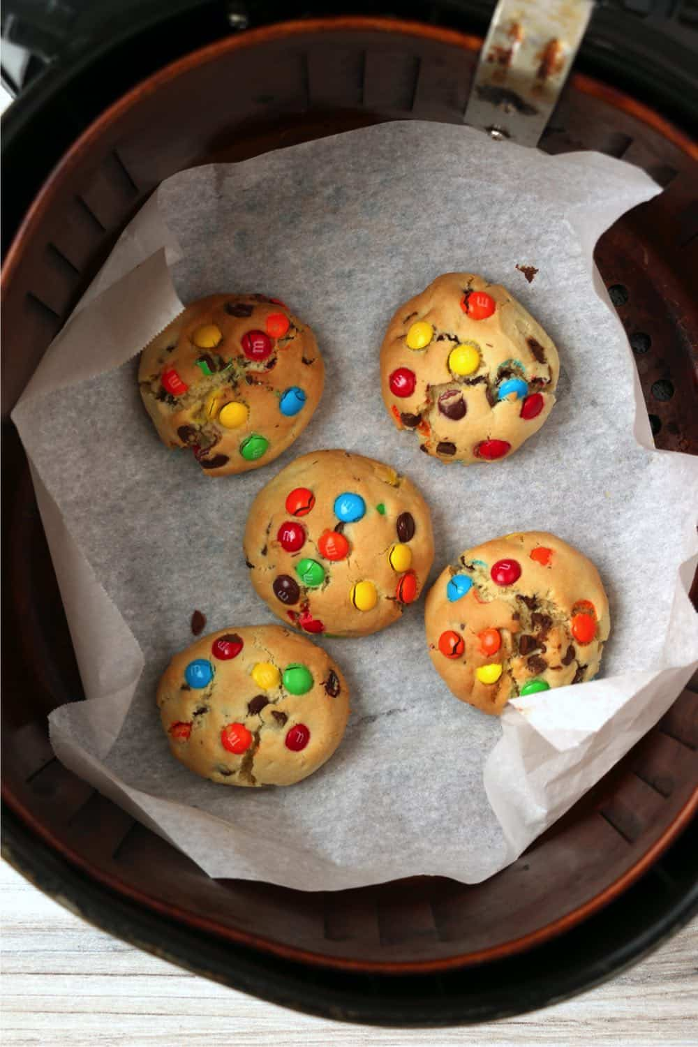 baked monster cookies still in the air fryer