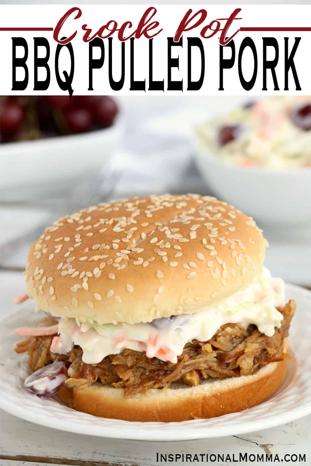Crock Pot BBQ Pulled Pork is a delicious way to feed a crowd. It takes just minutes to prepare and is tender, flavorful, and irresistible! #InspirationalMomma #crockpotbbqpulledpork #bbqpulledpork #crockpot #slowcookerbbqpulledpork #slowcooker #partyfood #pulledporksandwiches