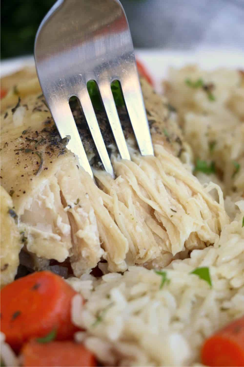 A close-up photo of a fork lifting a bite of chicken cooked in an Instant Pot