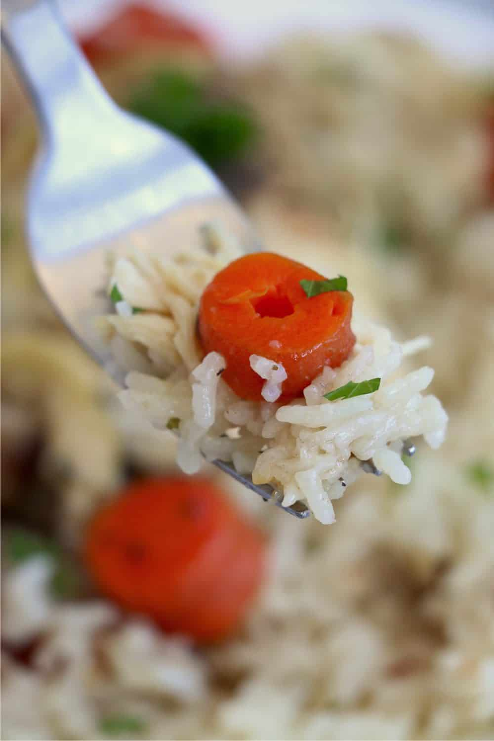 A close-up photo of a fork with a bite of rice and one chopped carrot on it