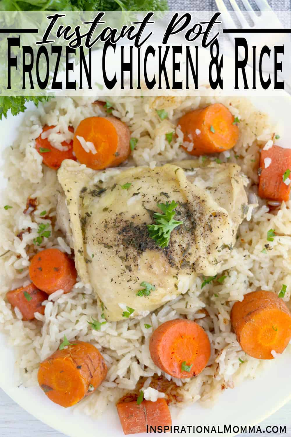 Instant Pot Frozen Chicken and Rice is a perfect dinner when you are short on time. A meal made in less than 30 minutes and packed with flavor! #inspirationalmomma #instantpotfrozenchickenandrice #instantpotchickenandrice #chickenandrice #frozenchickendinner #instantpotrecipes #instantpotdinners