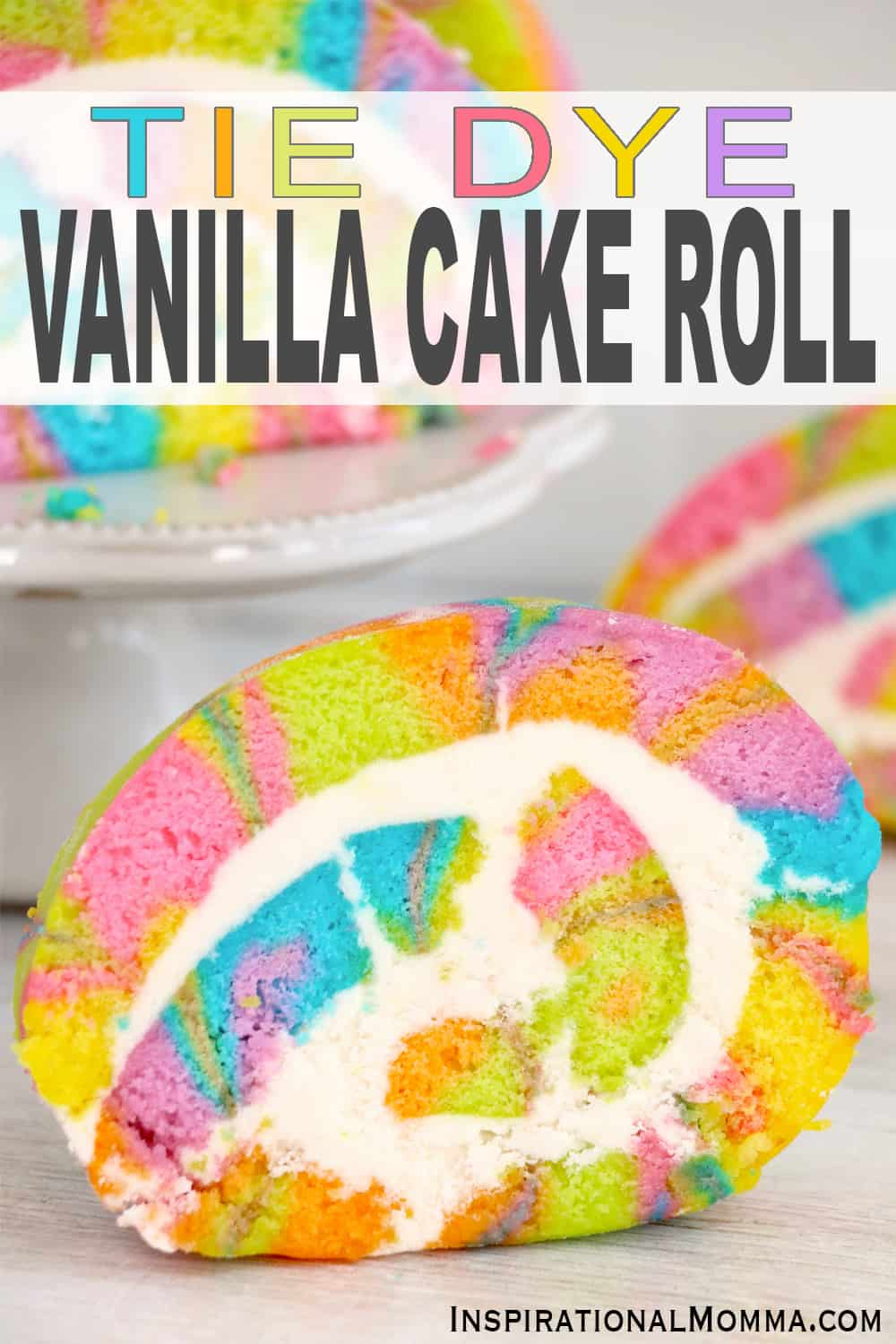 This Tie Dye Vanilla Cake Roll is a sweet, rich, and decadent roll cake filled with homemade buttercream frosting. Perfect for parties! #InspirationalMomma #vanillacakeroll #vanillarollcake #tiedyevanillacakeroll #cakeroll #rollcake #cakepinwheels #pinwheelcakes #cakeandbuttercreamfrosting #buttercreamfrosting