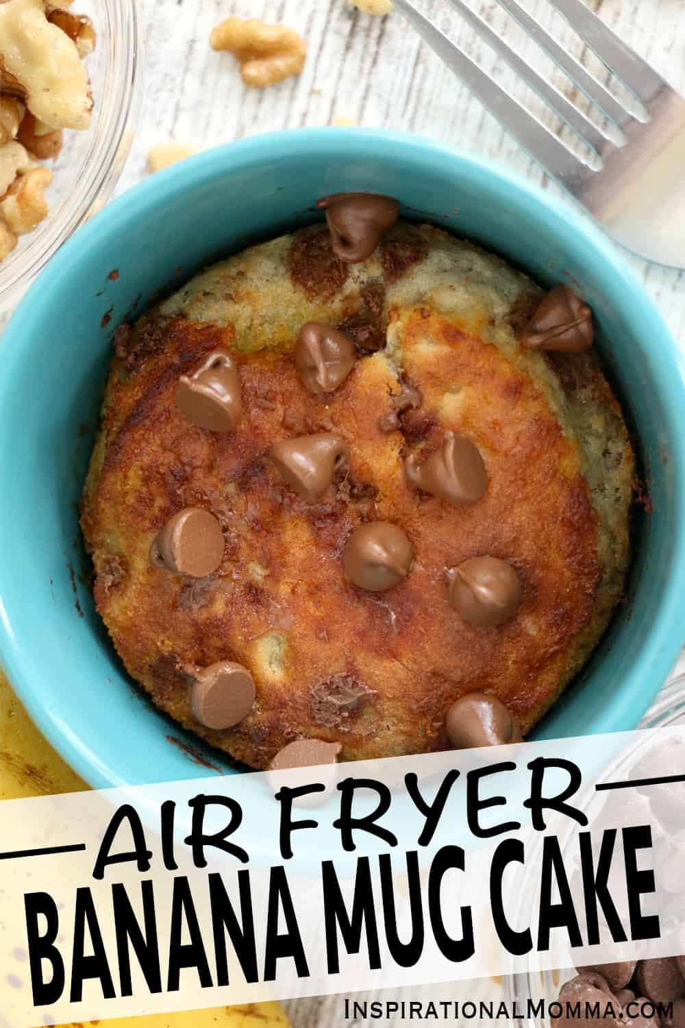 This Air Fryer Banana Mug Cake is a quick, easy dessert that is perfectly baked every time.  Moist, packed with flavor, and deliciously sweet. #inspirationalmomma #airfryerbananamugcake #bananamugcake #mugcake #mugcakerecipes #airfryermugcake #airfryermugcakerecipes