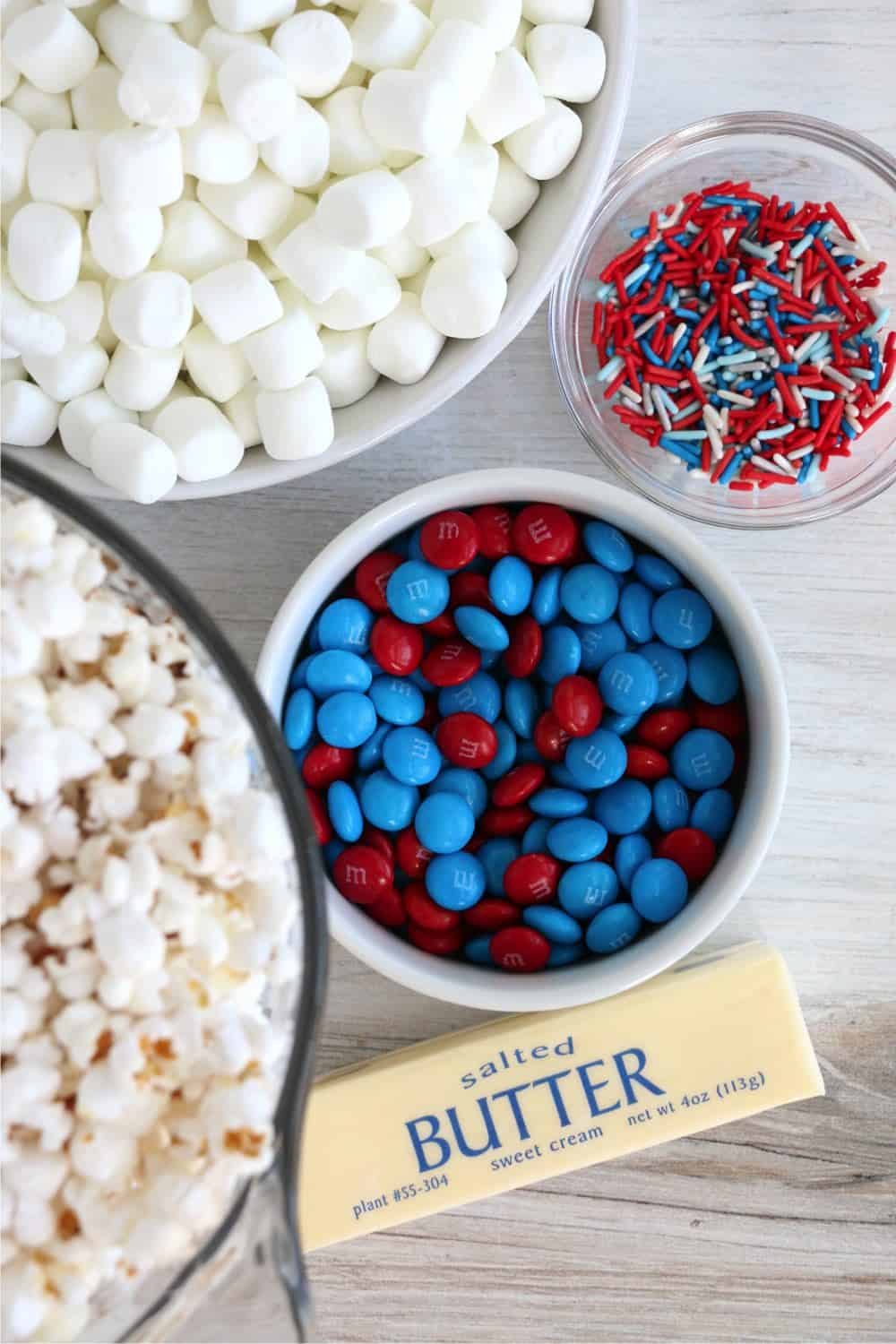Ingredients needed to make red, white, and blue popcorn bars