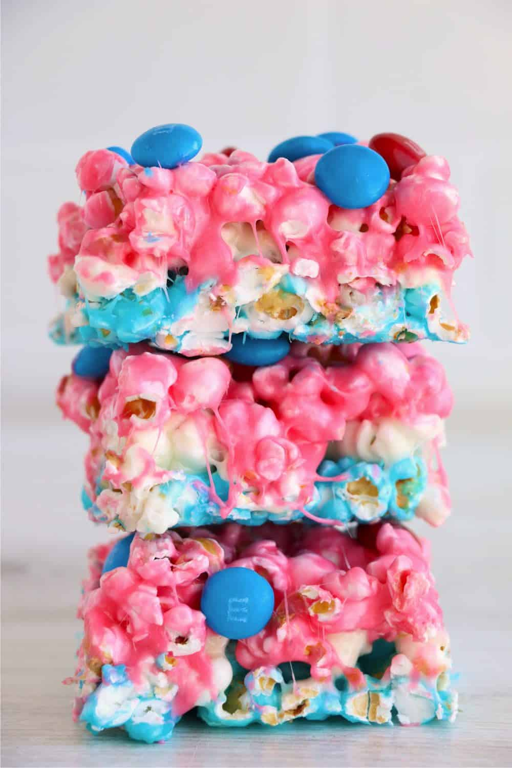 A red-white-and-blue stack of popcorn cake squares