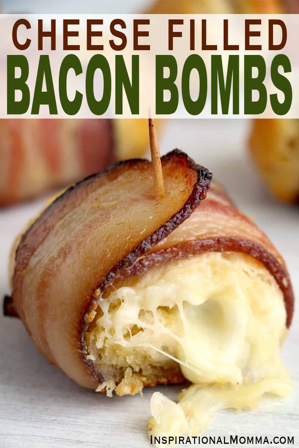 Tasty, fast, and delicious Bacon Wrapped Cheese Bombs are perfectly bite-sized. Filled with cheese, wrapped with bacon, ready to enjoy! #inspirationalmomma #baconwrappedcheesebombs #cheesebombs #baconcheesebombs #cheesefilledbiscuits #appetizers #appetizerrecipes