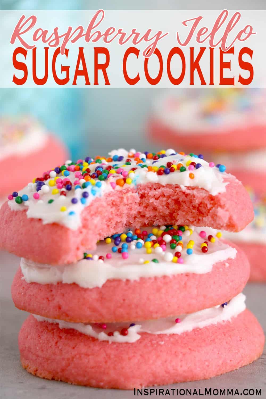 pinnable image of raspberry jello sugar cookies