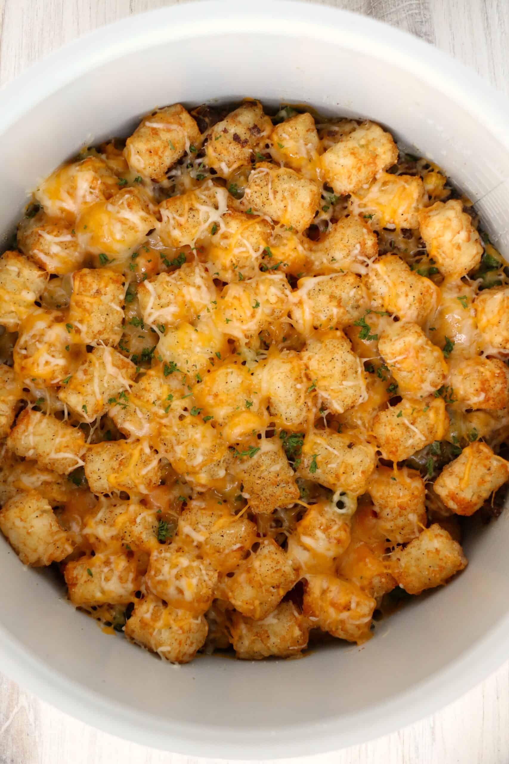 dish of cooked Ninja Foodie Tater Tot Casserole.
